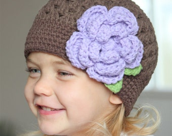 Baby girl hat,Crocheted baby hat, baby girl hat with flower