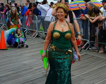 Emerlad Green Mermaid Costume, Ariel Tail with Full Coverage & Bustle, Walkable Size L/XL, OOAK