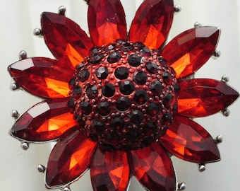 Sunflower Statement Ring/Burnt Orange/Ruby/Rhinestone/Silver/Gift For Her/Adjustable Ring/Under 20 USD
