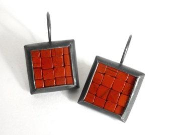 Mosaic Earrings - Red Jasper Oxidized Silver - Red Mosaic Earrings - Square Earrings - Red Black Earrings - Artisan Handmade Earrings