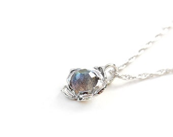 Rose Cut Labradorite Periwinkle Flower Necklace - Sterling Silver - Handcrafted Made to Order - Bridesmaid, Wedding Gift, Birthday Present