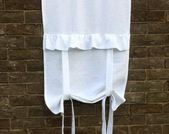 Linen Ruffle Valance Curtain, White Roll up Shade, Floaty Bathroom Tie up Panel, Shabby Chic, French Decor