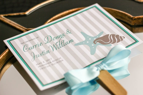 "Wedding Programs, Fan Programs, Ceremony, Beach or Destination Wedding, Aqua, Ivory and Taupe - ""Starfish and Shell"" Fan Program - DEPOSIT"