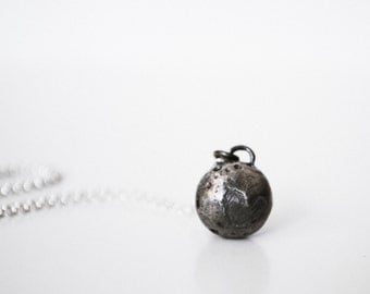 Pluto Necklace - Solid oxidized sterling silver pendant of Pluto heart