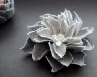 Steel Gray Felt Flower Pin Brooch, Felted Flower, Gray Flower