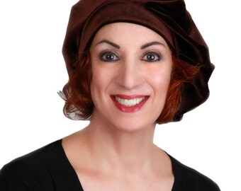 Dark Brown Velvet Beret, French Beret, Large Beret, Slouchy Hat, Chemo Hat, Alopecia Hat 702-06