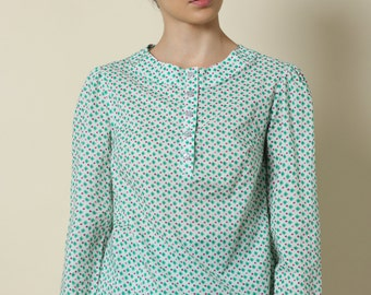 Sale, Womens blouse, Winter top, polka dots, Women shirt, long sleeves, elegant top, womens shirt, womens top, winter blouse, buttoned shirt