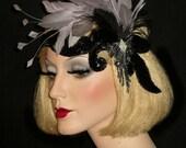 DIVINE DECO DIVA- Great Gatsby Headband, Roaring 20s Black & Silver Headband, 20s Gatsby Headpiece, Old Hollywood Speakeasy Flapper Headband