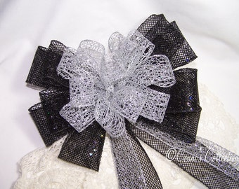 Silver and Black Sparkle Bow Football Christmas Wedding Gift Wired Ribbon Wreath Holiday Decoration Pew Bow Raiders Spurs Stars Colors