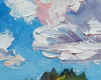 Oil Painting Landscape Impasto 4x4 Lush Color Brushstrokes Serene Blue
