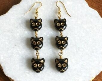 Three Little Kitty Earrings >> Cat Earrings, Kitten Earrings, Feline Earrings, Black Earrings, Black Cat Earrings, Crazy Cat Lady Earrings