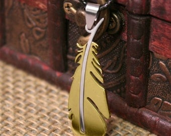 Chocobo Feather Pendant - Final Fantasy Inspired - Choose Color! (Blue, Black, Gold, Silver)