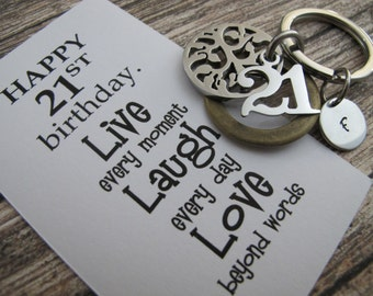21st birthday gifts - 21st birthday gifts for him - gift for son - 21st personalized key chain - Tree Of Life Key Chain - Gift For Husband