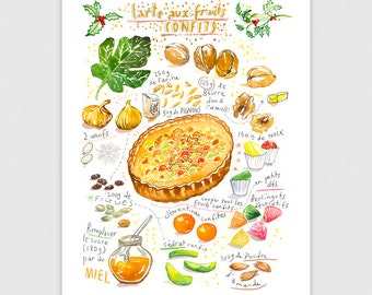 Christmas pie recipe print, French christmas candied fruit tart poster, 8X10 art print, Provence food, Kitchen wall decor, Christmas gift