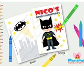 Batman Coloring Books, 6 coloring books, SuperHero Party,Personalized Coloring Books, batman customized party favors, A1268