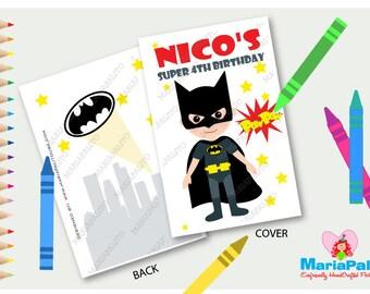 Batman Coloring Books, 6 coloring books, SuperHero Party,Personalized Coloring Books, batman customized party favors, A1268