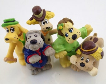 Vintage Pound Puppies 80s Tonka 5 Figurines Figures Plastic Erasers 1986 Cooler Bright eyes Howler Scrounger 2 Inch PVC Toys