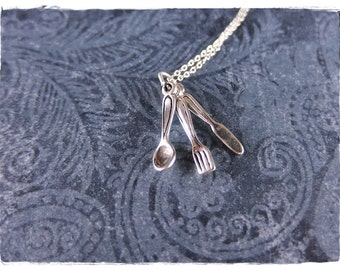 Silver Silverware Set Necklace - Sterling Silver Silverware Charm on a Delicate Sterling Silver Cable Chain or Charm Only