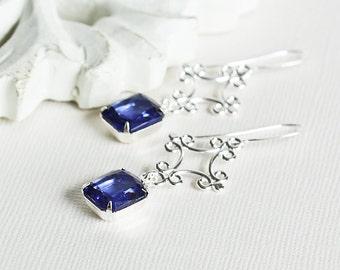 Dark Blue Dangles - Sapphire Blue Earrings with Silver Plated Hooks, Rhinestone Dangle Earrings, Blue Drop Earrings, Bridesmaid Jewelry