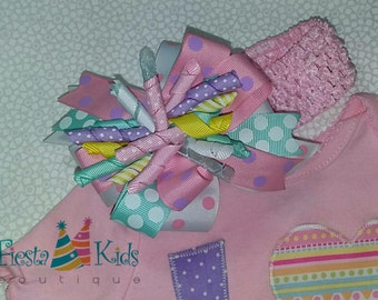 Candyland birthday, pink and mint, pastel colors, over the top bow, boutique hair bow
