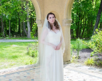 Wedding Veil - Cascading Chapel Length with Vintage Beaded Alencon Lace starting at Waist