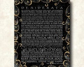 DESIDERATA Print - Contemporary Modern Gallery Wapped Canvas 20x24 - Motivational Black with Gold Scrolls