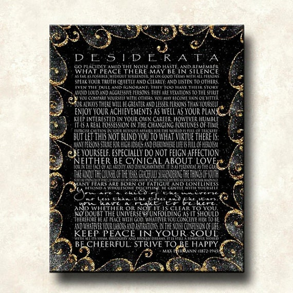 DESIDERATA Print - Contemporary Modern Gallery Wapped Canvas 18x24 - Motivational Black with Gold Scrolls