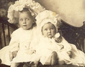 ADORABLE Little Girls With Huge BONNETS Photo Moscow Idaho Circa 1910