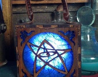 Steampunk lamp to wear. Lovecraft Cthulhu wood light Box. Light up your outfits