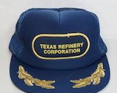 Texas Refinery Navy Gold Leaf SnapBack Mesh Back Hat Cap