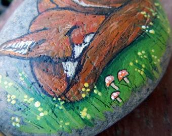 RED FOX Painted Stone Fox Medicine Rock Art TOADSTOOLS Hand Painted Rocks Forest Animal Art Animal Totem Stones Forest Mushrooms Fox Stones