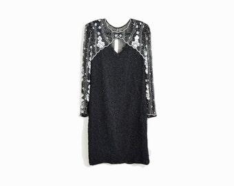 Vintage 80s Beaded Black Silk Party Dress / Fancy Dress - women's large