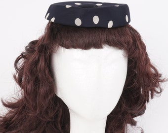 40s 50s vintage polka dot fascinator navy blue and white mini small pillbox hat