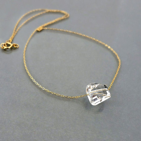 Rock Crystal Necklace, Natural stone necklace, ice clear crystal quartz, Top quality gem stone, gold filled chain, jewelry gift, by balance9