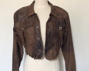 Vintage Leather Southwest Distressed Brown Jacket w Conchos & Whipstitch Lacing