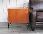 Mid Century Modern Teak Bar Cart - Rolling Liquor Cabinet - Serving Cart