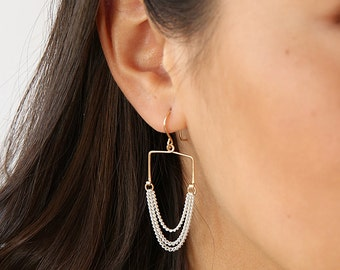 Square Bar Chained Earrings