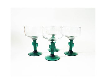 Vintage Cactus Margarita Glasses / Set of 4
