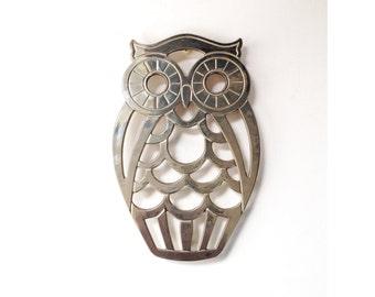 Vintage Silver Owl Trivet