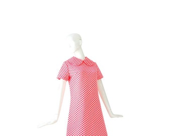 1960s Neon Pink Polka Dot Dress • 60s Mod Dress • Pink • M / L  Medium Large