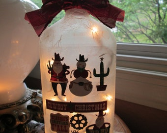 christmas,cowboy,western,western christmas,wine bottle light,wine bottle lights,lighted bottles,lighted wine bottle,lamps