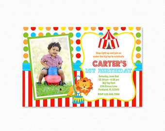 Circus Birthday Party Invitation, Boy Circus Invitation, Lion, Circus Tent, Personalized, Printable and Printed