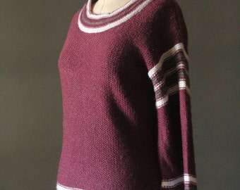 Vintage 70's Merlot, Grey and White Stripe Knit Bell Sleeve Pullover Sweater by Sirocco, size M