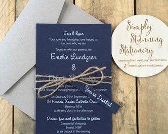 Navy Blue & White Rustic wedding invitations - SAMPLE