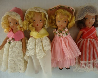 4 Vintage STORYBOOK DOLLS Nancy Ann Dolls Collection Early Collection of 4 Storybooks Dressed Up Dolls