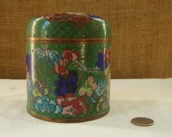 ANTIQUE ENAMEL CLOISONNE Covered Jar Blue Enamel Interior Copper Jar Antique Asian Enamel Covered Jar Jewelry Box Stash Box Collectable