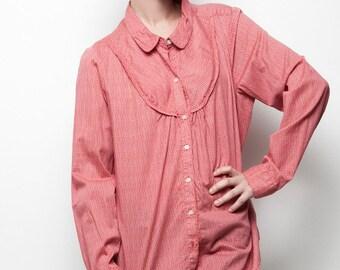 Peter Pan collar bib shirt red cotton top vintage long sleeves XL extra large - 1X plus size