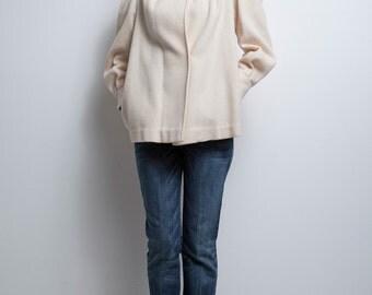 cream wool jacket coat feminine puff sleeves vintage 80s S M SMALL MEDIUM