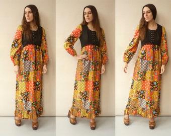 1970's Vintage Hippie Psychedelic Print Boho Maxi Dress Size XS
