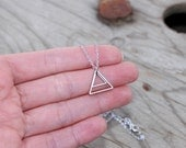 Double Triangle necklace - Trinagles necklace, modern geometric, everyday necklace